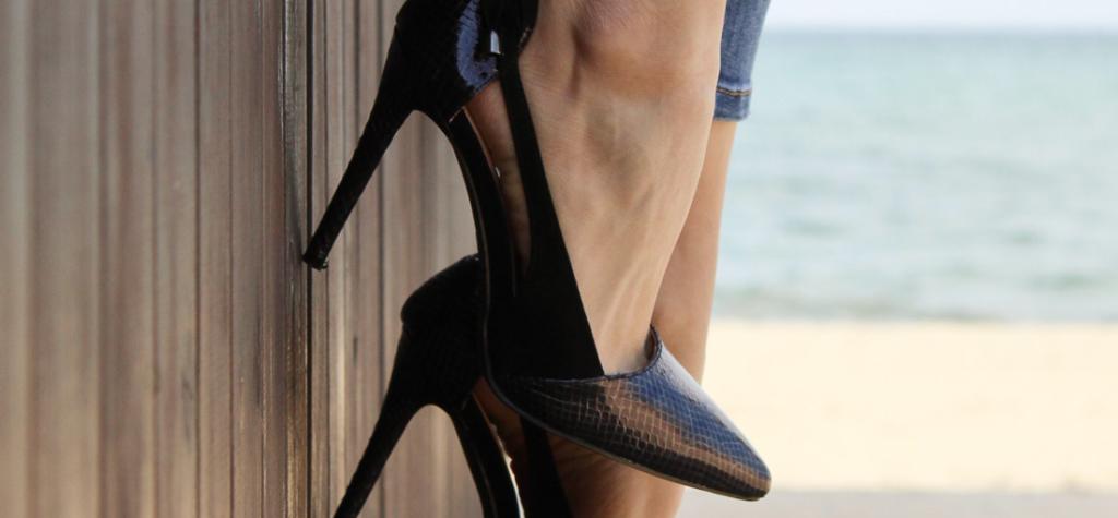 scarpe con tacco senza calze